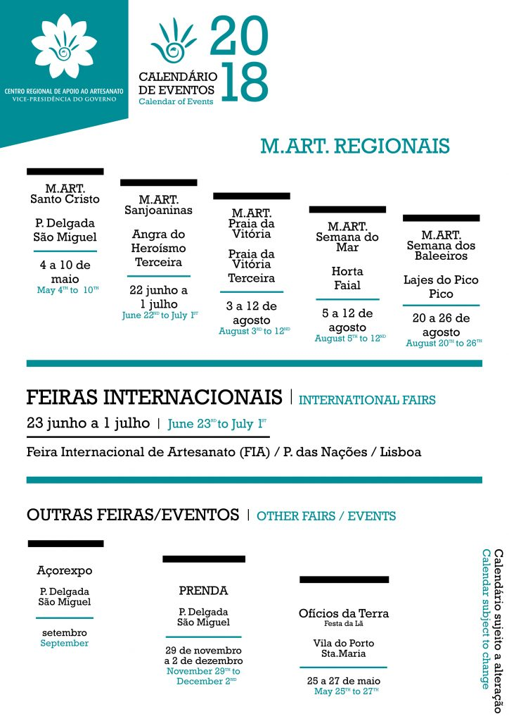 calendario eventos M.ART. REGIONAIS - 2018