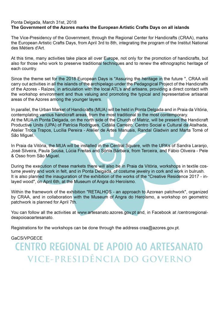 Governo dos Acores assinala Dias Europeus do Artesanato em todas as ilhas En