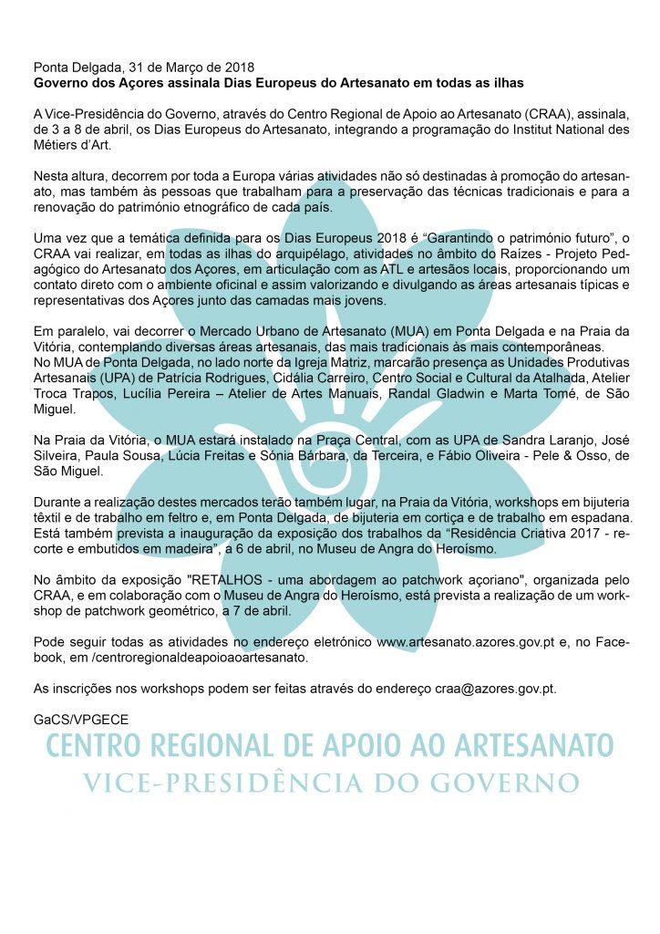 Governo dos Acores assinala Dias Europeus do Artesanato em todas as ilhas PT