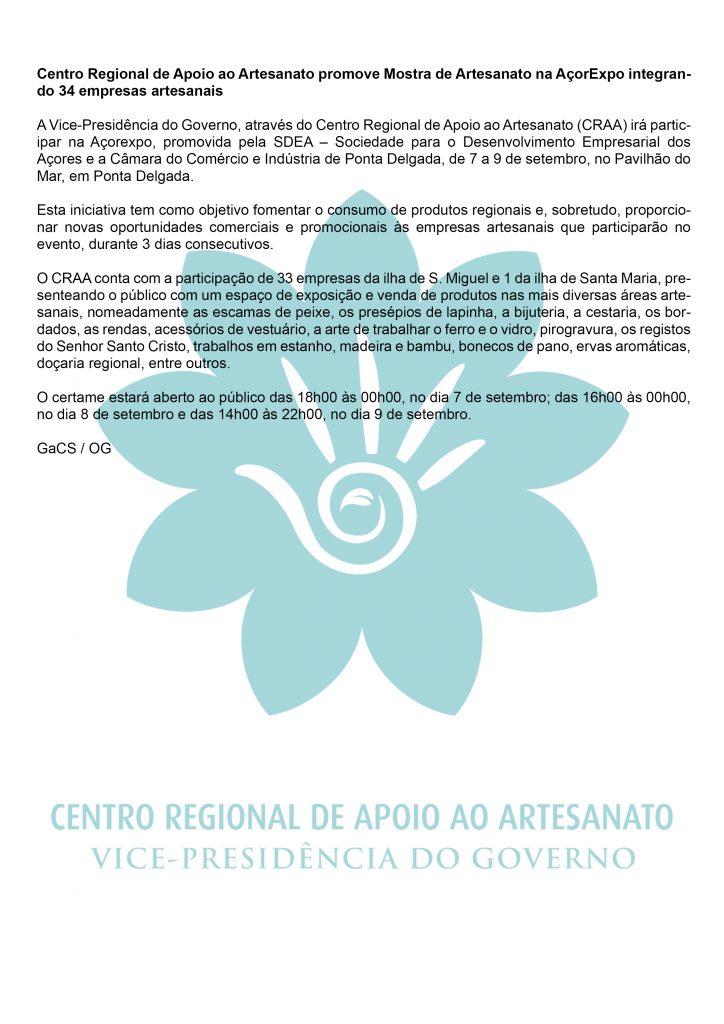Centro Regional de Apoio ao Artesanato promove Mostra de Artesanato na AcorExpo integrando 34 empresas artesanais PT