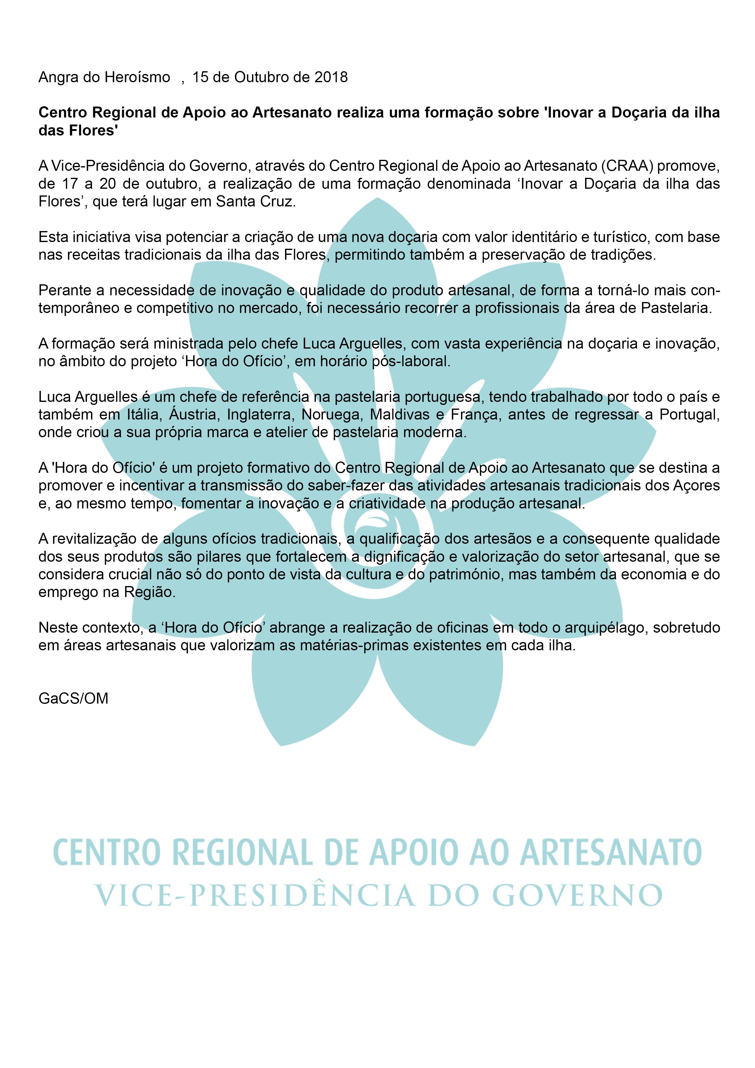 Centro Regional de Apoio ao Artesanato realiza uma formacao sobre Inovar a Docaria da ilha das Flores PT
